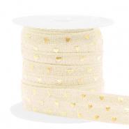 Elastisch Ibiza lint 15mm hearts silk white