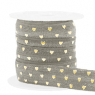 Elastisch Ibiza lint 15mm hearts taupe gold