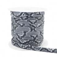 Elastisch Ibiza lint 4mm snake grey