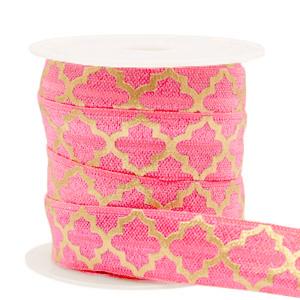 Elastisch lint 15mm print roze goud