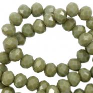 Facet kralen 4x3mm dusty olive green pearl shine