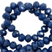 Facet kralen 4x3mm ensign blue pearl shine
