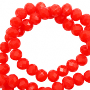 Facet kralen 4x3mm flame red pearl shine