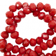 Facet kralen 4x3mm maroon red pearl shine