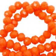 Facet kralen 4x3mm saffron orange pearl shine