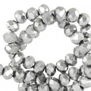 Facet kralen 4x3mm silver metallic pearl shine