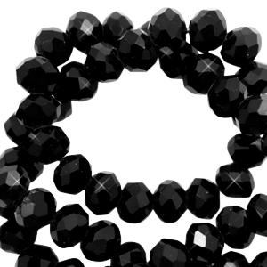 Facet kralen 4x3mm sky black pearl shine