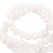 Facet kralen 4x3mm soft white pearl shine