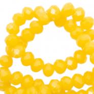 Facet kralen 4x3mm sunshine yellow pearl shine