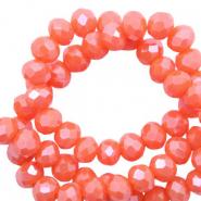 Facet kralen 4x3mm tigerlily coral red