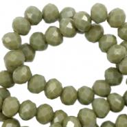 Facet kralen 6x4mm dusty olive green pearl shine