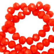 Facet kralen 6x4mm flame orange red pearl shine