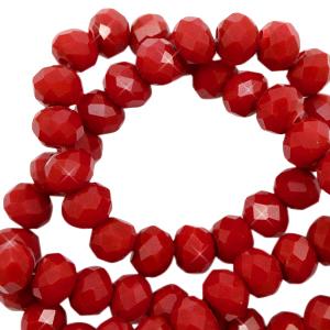 Facet kralen 6x4mm maroon red pearl shine
