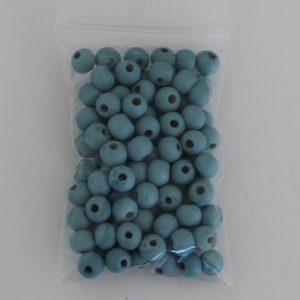Houten kralen 6mm blauw
