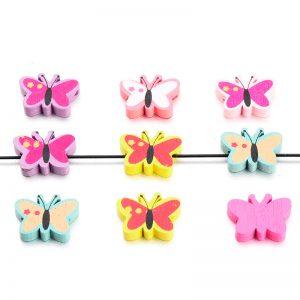 Houten kralen mix vlinder