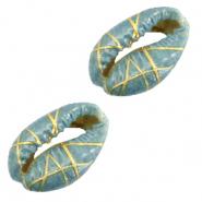 Kauri schelp gold line basil green