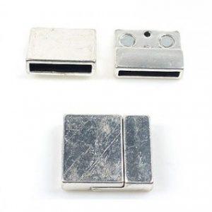 Magneetsluiting antiek zilver extra breed