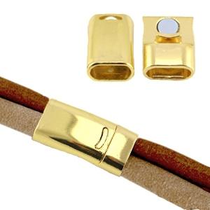 Magneetsluiting voor 10mm plat leer goud