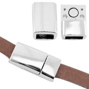 Magneetsluiting voor 5mm plat leer zilver