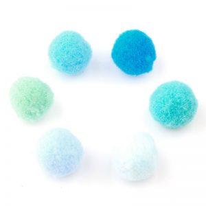 Pompoms mix 15mm mint blauw