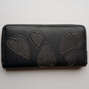 Portemonnee glitterharten zwart
