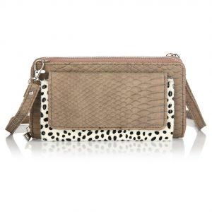 Portemonnee schoudertas croco luipaard taupe