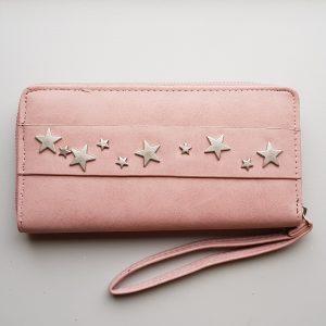 Portemonnee sterren studs roze