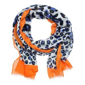 Sjaal luipaard blauw oranje