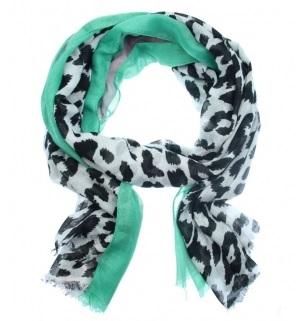Sjaal luipaard groen roze