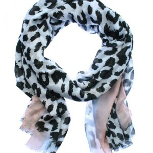 Sjaal luipaard lichtroze