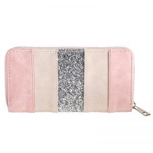 portemonnee glitter lines roze