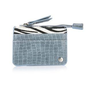 Mini portemonnee croco zebra blauw
