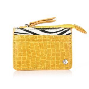Mini portemonnee croco zebra oker