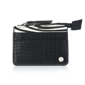 Mini portemonnee croco zebra zwart