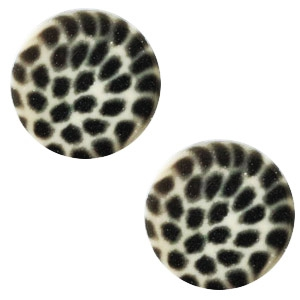 Cabochon 12mm luipaard light silver shade