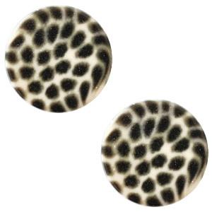 Cabochon 12mm luipaard silk beige