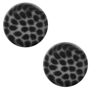 Cabochon 12mm luipaard silver night