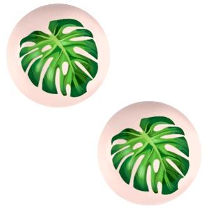 Cabochon 12mm tropical palm creamy peach