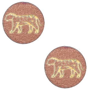 Cabochon hout 12mm luipaard roségold