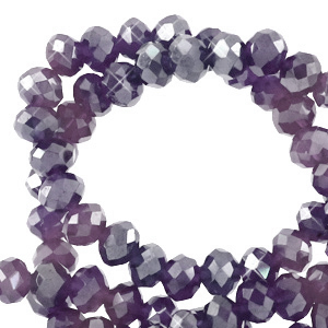 Facet kralen 4x3mm grape purple pearl shine