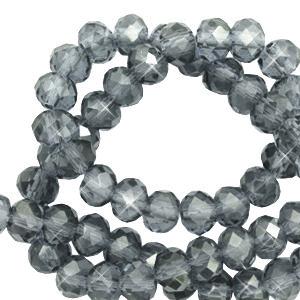 Facet kralen 4x3mm steel blue pearl shine