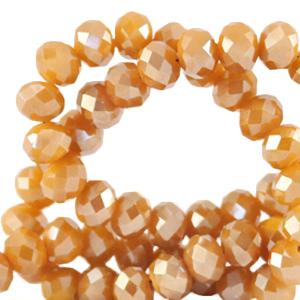 Facet kralen 6x4mm bleached apricot orange pearl shine