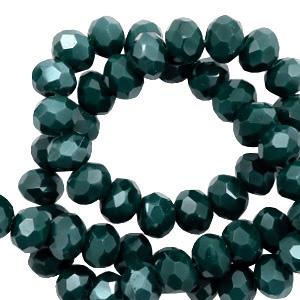 Facet kralen 6x4mm deep green pearl shine