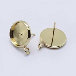 Oorbellen voor 12mm cabochon goud