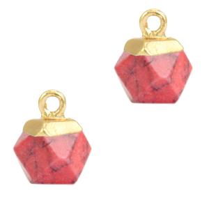 Natuursteen hanger hexagon red marble gold