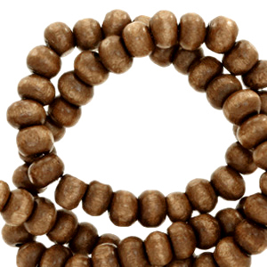 Nature houten kralen 6mm tabacco brown