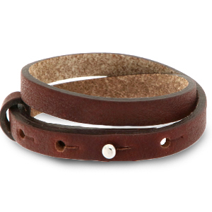 Cuoio armband 8mm burgundy brown dubbel