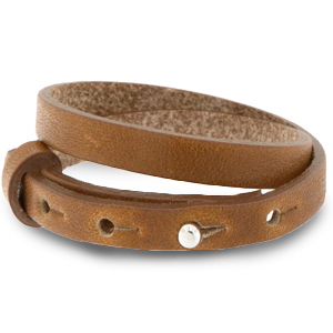 Cuoio armband 8mm saddle brown dubbel