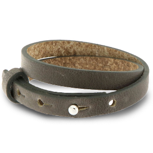 Cuoio armband 8mm warm stone taupe dubbel