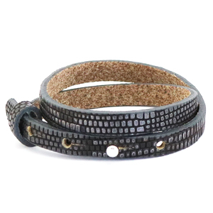 Cuoio armband croco 8mm anthracite silver dubbel